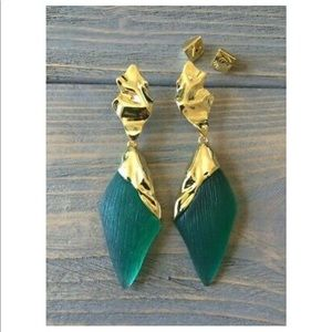 Alexis Bittar Green and gold drop earrings